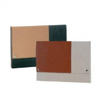 Pochette publicitaire en carton recyclé - bande cuir recyclé - PERLA