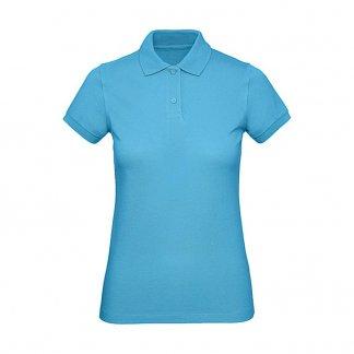 Polo femme personnalisable en coton biologique - 170g - Turquoise - INSPIRE POLO