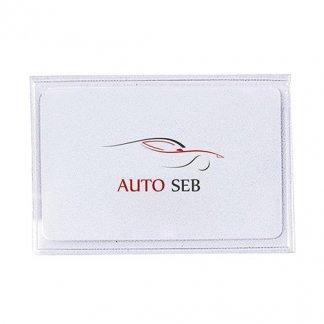 Porte-carte adhésif publicitaire en PVC transparent - avec marquage 2 couleurs