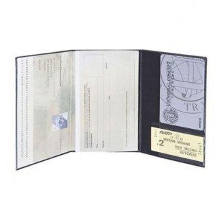 Porte-carte grise et carte publicitaire 3 volets en PVC - Ouvert