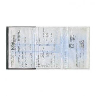 Porte-carte grise publicitaire 3 volets en PVC - 1 volet opaque et 2 volets transparents