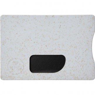 Porte-carte personnalisable anti RFID en paille de blé et polypropylène - gris - STRAW