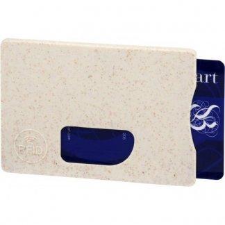 Porte-carte personnalisé anti RFID en paille de blé et polypropylène - beige - STRAW