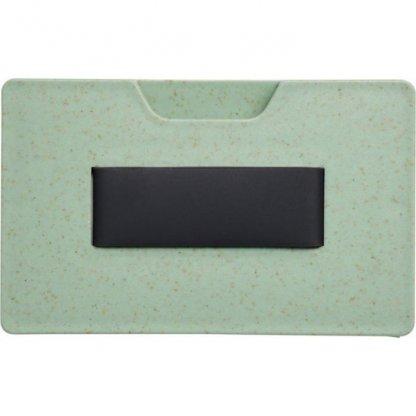 Porte Carte Publicitaire Anti RFID En Paille De Blé Et Polypropylène Arrière Vert GRASS