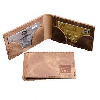 Porte-cartes 2 poches horizontales promotionnel en cuir recyclé