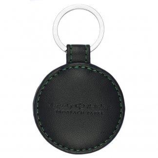 Porte-clé rond  publicitaire en cuir recyclé - EXECUTIVE