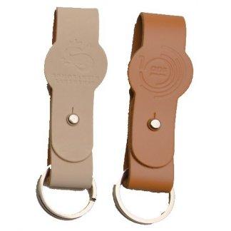 Porte-clés avec médaillon promotionnel en cuir recyclé - KEYS