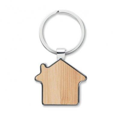 Porte Clés En Forme De Maison En Bambou Et Zinc BURNIE Face Bambou