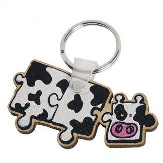 Porte-clés publicitaire à votre forme en bois aggloméré - Vache