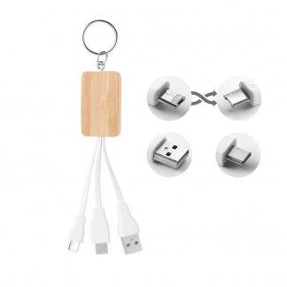 Porte-clés publicitaire avec câble de chargement en bambou - CLAUER