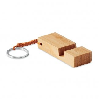 Porte-clés publicitaire support de téléphone en bambou - TRINEU