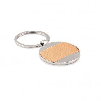 Porte-clés rond personnalisable en bois et zinc - MATIKAS