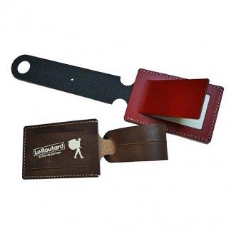 Porte étiquettes pour bagages en cuir recyclé - marron et rouge - TOTAL SYNETIC