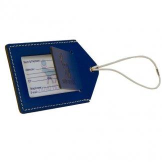 Porte étiquettes publicitaire pour bagages en cuir recyclé - SYNETIC