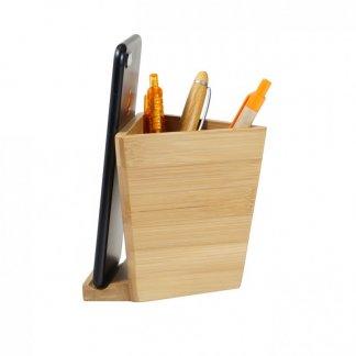 Pot à crayons personnalisable avec support téléphone en bambou - Côté - BAMBEE