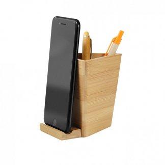 Pot à crayons publicitaire avec support téléphone en bambou - BAMBEE