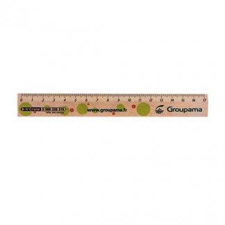 Règle 17cm publicitaire en bois certifié - TRACECERTIF