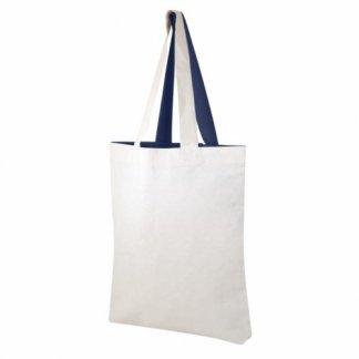 Sac boutique personnalisable bicolore avec fond en coton recyclé - 180g - Bleu marine - VISVERSA