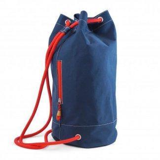 Sac marin personnalisable en filets de pêche et bouteilles plastiques recyclés - zip rouge - PACIBLUE