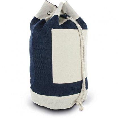 Sac Marin Publicitaire En Jute Et Coton Bleu Marine RUCKSACK