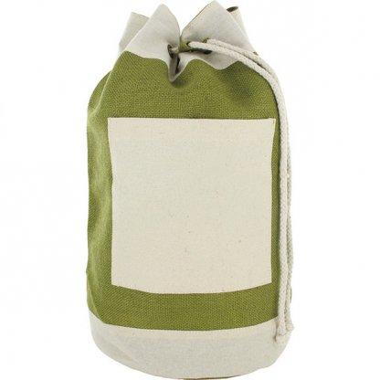 Sac Marin Publicitaire En Jute Et Coton Vert Olive RUCKSACK