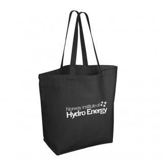 Sac shopping avec fond personnalisée en coton naturel - 280g - 43x39x14cm - Noir avec logo - BAYSWATER
