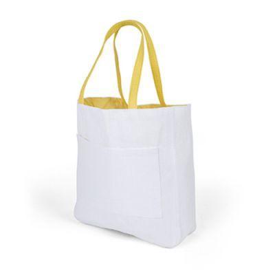 Sac Shopping D'épaule Publicitaire En Papier Et Coton Jaune PACO