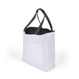 Sac shopping d'épaule publicitaire en papier et coton - noir - PACO