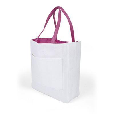 Sac Shopping D'épaule Publicitaire En Papier Et Coton Rose PACO