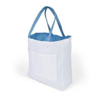 Sac shopping d'épaule publicitaire en papier et coton - turquoise - PACO