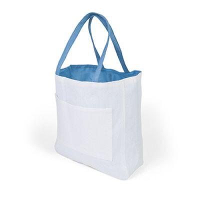 Sac Shopping D'épaule Publicitaire En Papier Et Coton Turquoise PACO