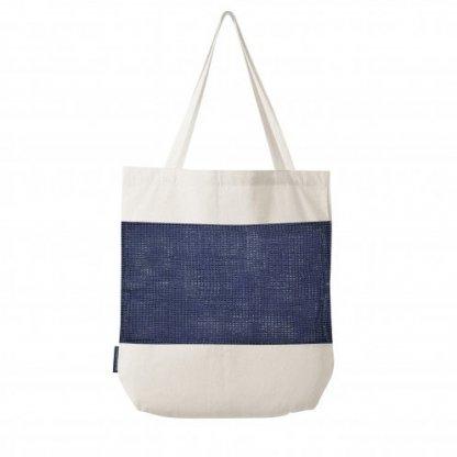 Sac Shopping Filet Personnalisable En Coton Et Coton Recyclé 180g 38x42x10cm Bleu MARCEL