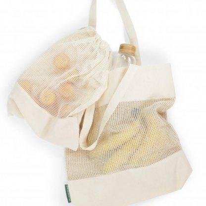 Sac Shopping Filet Personnalisé En Coton Et Coton Recyclé 180g 38x42x10cm Duo Biopoch MARCEL