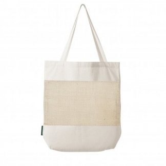 Sac shopping filet publicitaire en coton et coton recyclé - 180g - 38x42x10cm - naturel - MARCEL