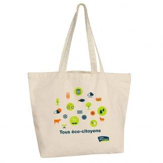 Sac shopping personnalisable avec fond en coton naturel - 330g - 47x35x15cm - RAIPUR