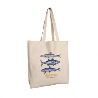 Sac shopping personnalisable avec soufflet en coton naturel - 220g - 38x42x10cm - naturel - MANALI