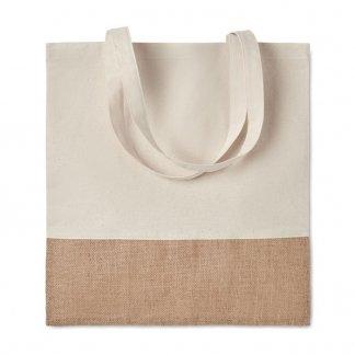Sac shopping personnalisable en coton et toile de jute - 160g - 38x41cm - plat - INDIA TOTE