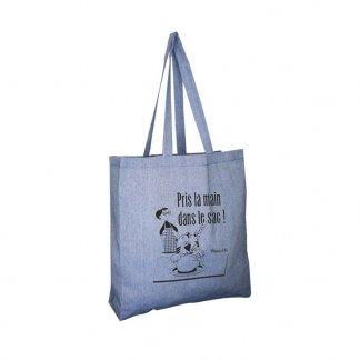 Sac shopping personnalisable en coton recyclé - 150g - 38x42x10cm - bleu - JHANSI