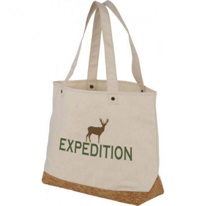 Sac Shopping Personnalisé Avec Fond En Coton Et Liège 406g 35x47,5x14cm Logo Blanc NAPA