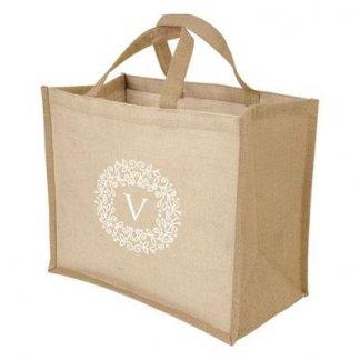 Sac shopping personnalisé en jute et coton - 36x28x19cm - Avec marquage - JUCO