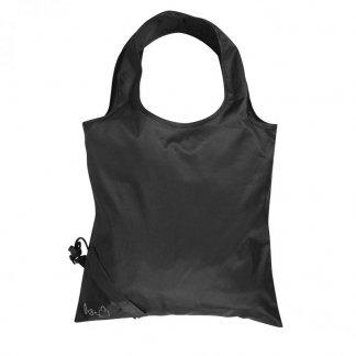 Sac shopping pliable personnalisable en bouteilles plastiques recyclées - 34x34cm - Noir - SHOPLI
