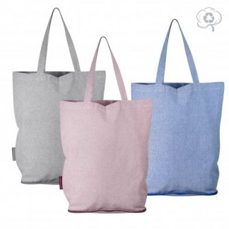 Sac shopping pliable promotionnel en coton recyclé - 180g - 38x42x12cm - REECO