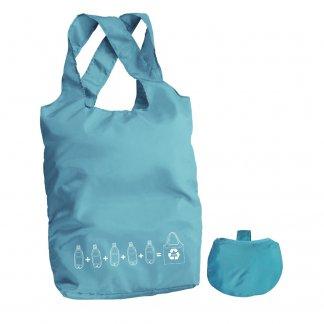 Sac shopping pliable publicitaire en bouteilles plastiques recyclées - Bleu turquoise - INZE POCKET