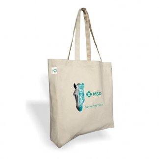 Sac shopping promotionnel avec soufflet en coton biologique - 160g - 38x42x10cm - Avec marquage - BANDA