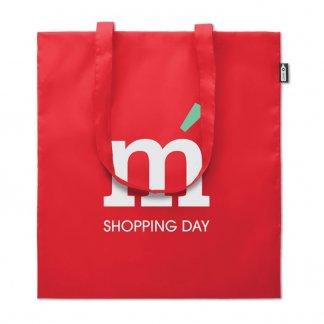 Sac shopping promotionnel en bouteilles plastiques recyclées - Rouge avec marquage - 110g - 38x42cm - TOTEPET