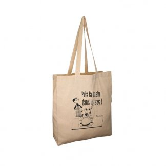 Sac shopping promotionnel en coton recyclé - 150g - 38x42x10cm - naturel - JHANSI