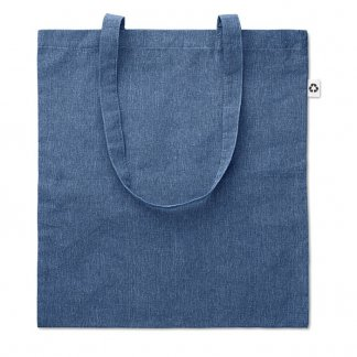 Sac shopping promotionnel en coton recyclé - Bleu - 140g - 38x42cm - COTTONEL DUO