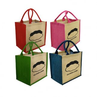 Sac shopping promotionnel en toile de jute - 30x30x20cm - Couleurs - BRIGHTON