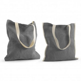 Sac shopping promotionnel en toile de jute - 37x42cm - gris - TOPDAY