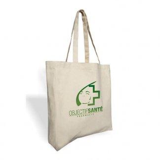 Sac shopping publicitaire avec soufflet en coton naturel - 330g - 38x42x10cm - SURAT